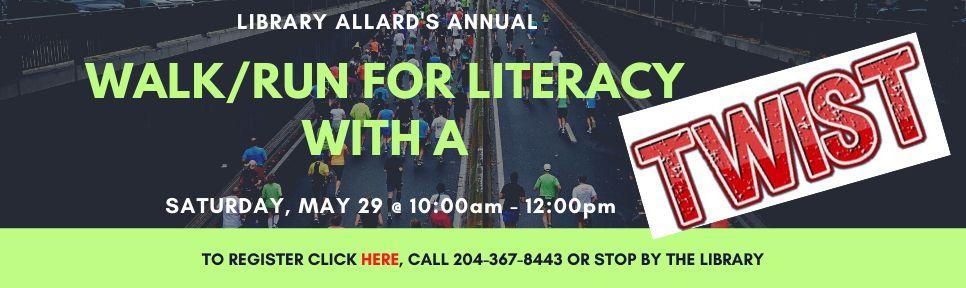 Walk Run for Literacy banner TWIST 2021