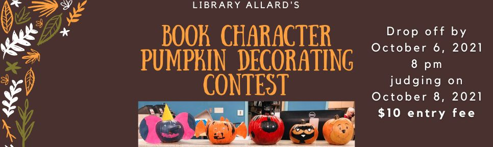 Book Character Pumpkin Decorating banner 2021