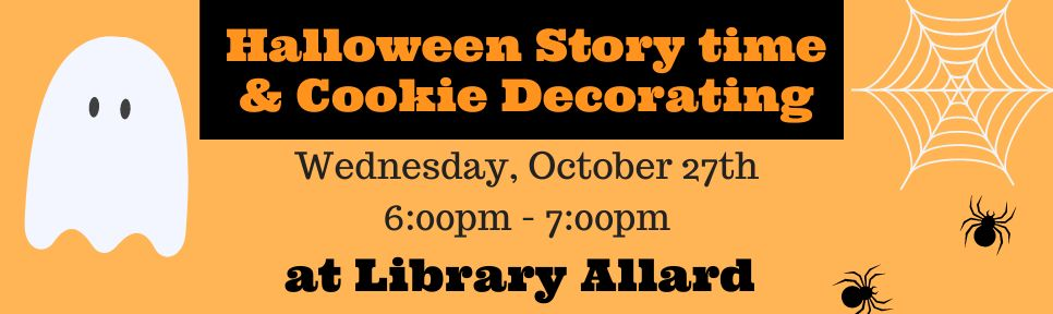 Halloween Story time & Cookie Decorating banner 2021